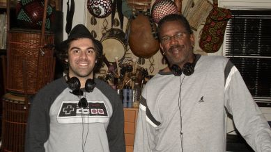 "Sal Filipelli & Munyungo Jackson recording percussion for ""This Day In Music History"" 2014"